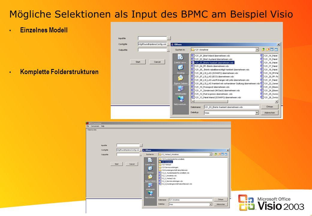 Mögliche Selektionen als Input des BPMC am Beispiel Visio