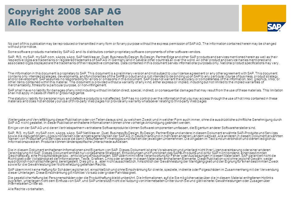 Copyright 2008 SAP AG Alle Rechte vorbehalten