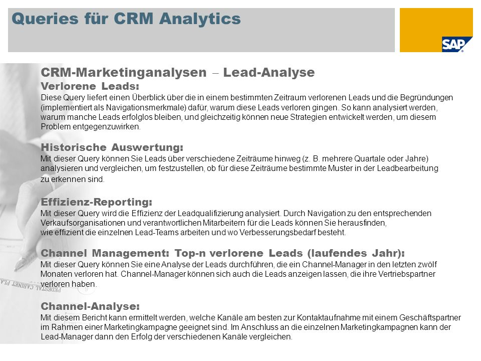 Queries für CRM Analytics