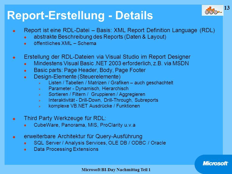 Report-Erstellung - Details