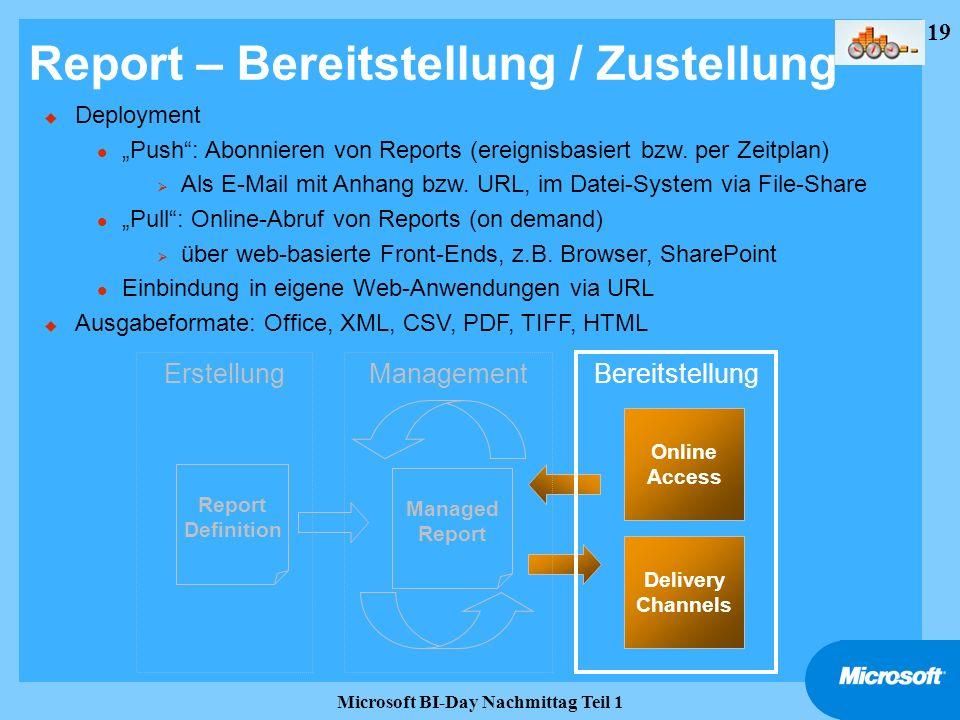 Report – Bereitstellung / Zustellung