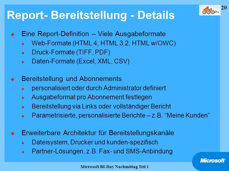 Report- Bereitstellung - Details