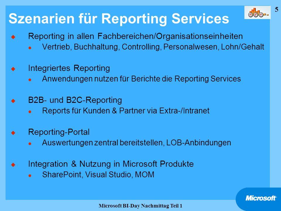 Szenarien für Reporting Services