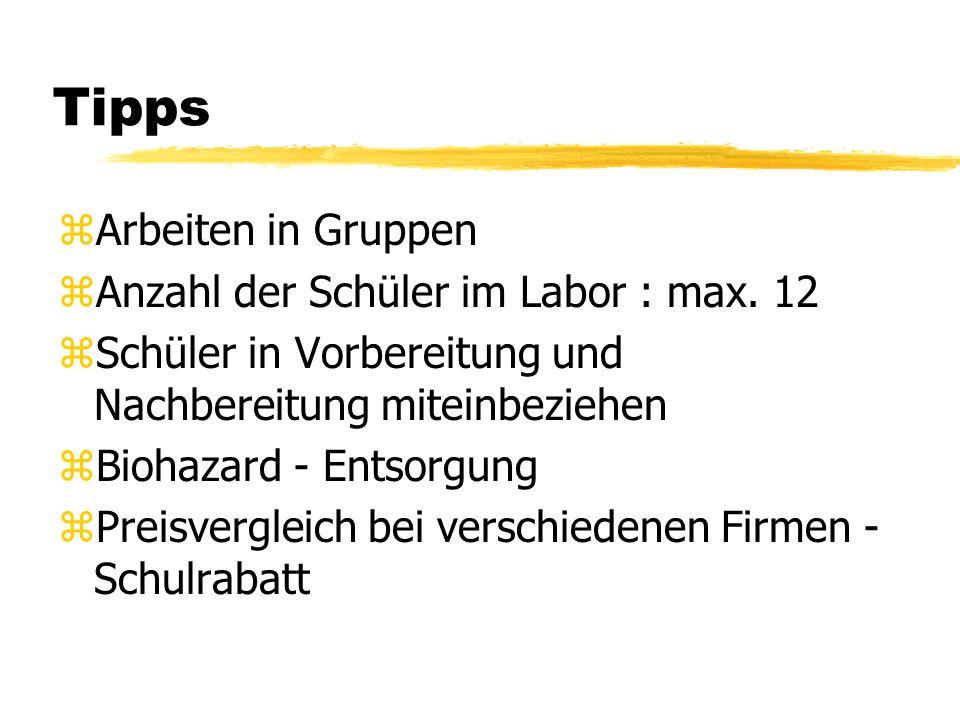 Tipps Arbeiten in Gruppen Anzahl der Schüler im Labor : max. 12