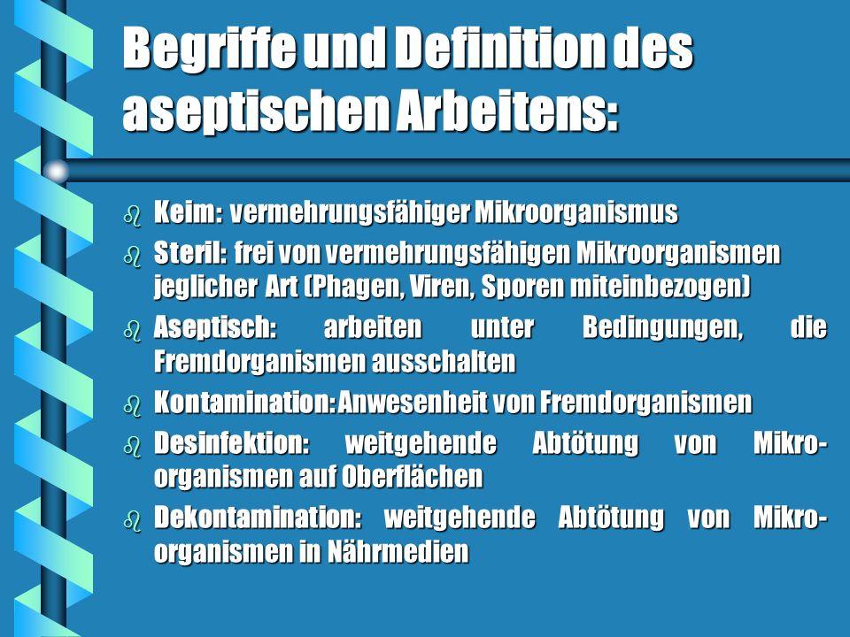 Begriffe und Definition des aseptischen Arbeitens: