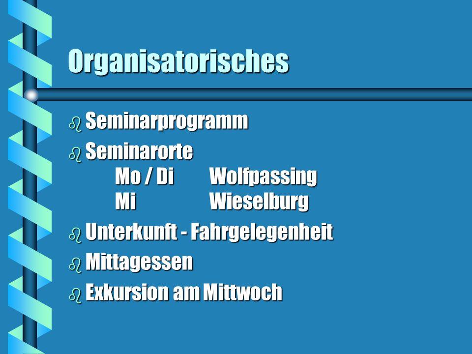 Organisatorisches Seminarprogramm
