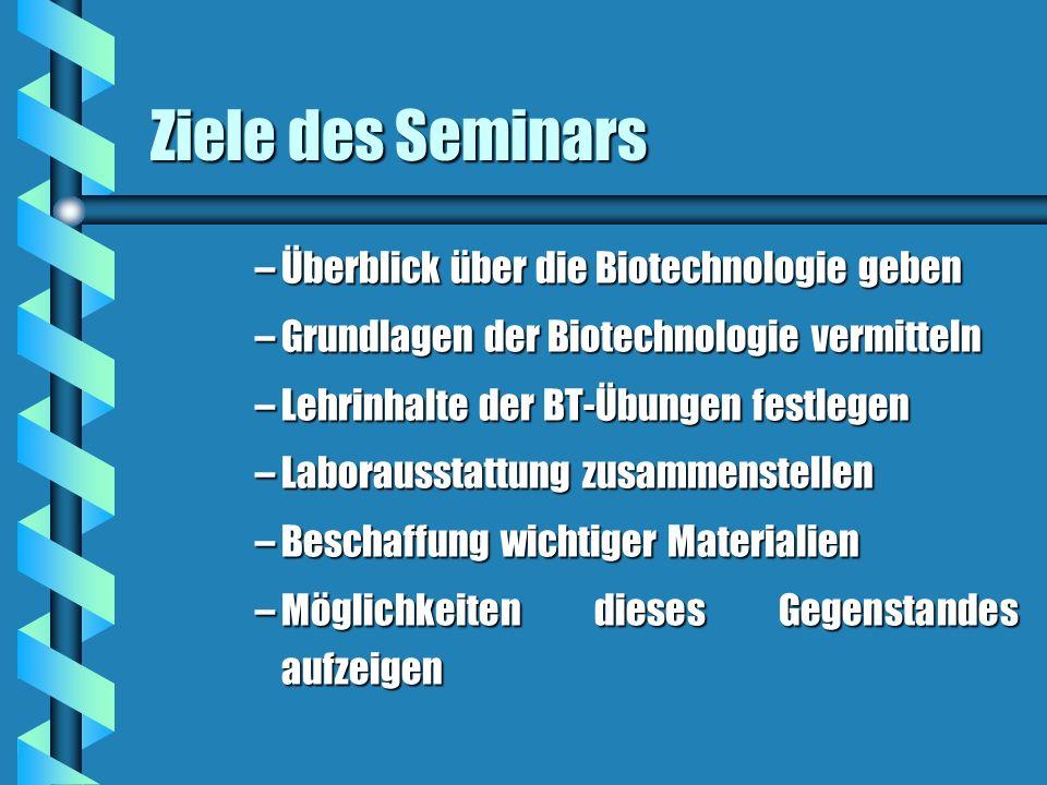 Ziele des Seminars Überblick über die Biotechnologie geben