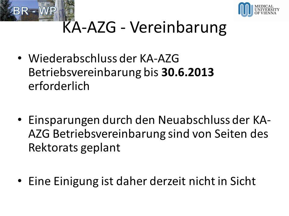 KA-AZG - VereinbarungWiederabschluss der KA-AZG Betriebsvereinbarung bis 30.6.2013 erforderlich.