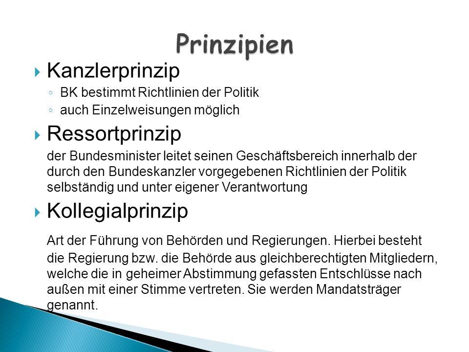 Prinzipien Kanzlerprinzip Ressortprinzip Kollegialprinzip