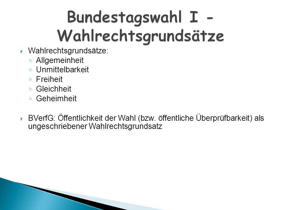 Bundestagswahl I - Wahlrechtsgrundsätze
