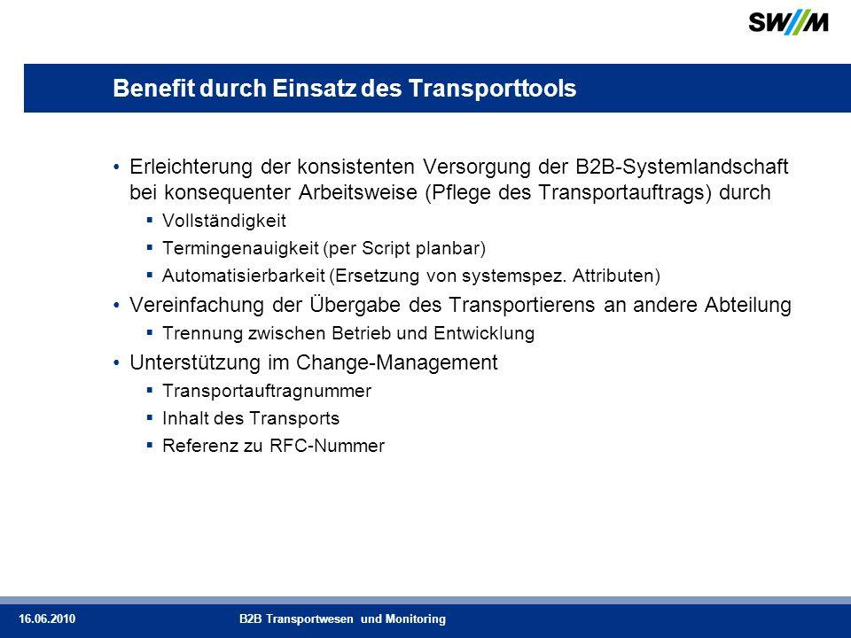 Benefit durch Einsatz des Transporttools