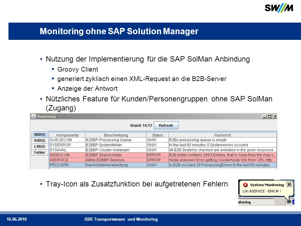 Monitoring ohne SAP Solution Manager