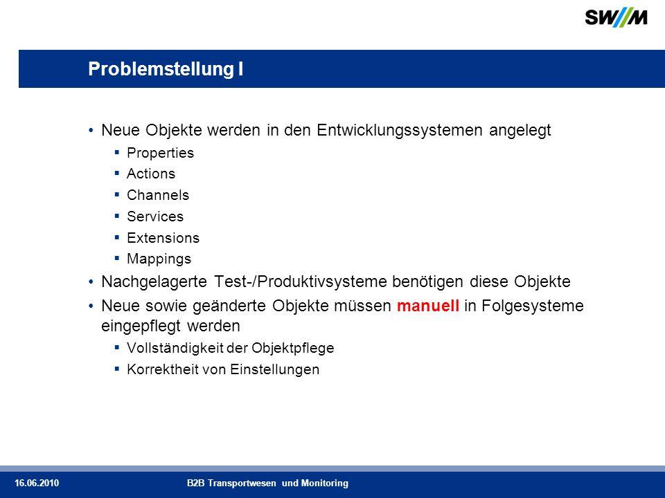 Problemstellung I Neue Objekte werden in den Entwicklungssystemen angelegt. Properties. Actions. Channels.