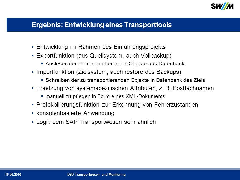 Ergebnis: Entwicklung eines Transporttools