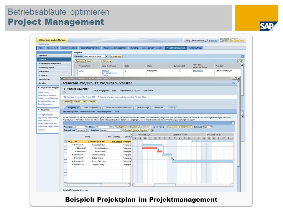Betriebsabläufe optimieren Project Management