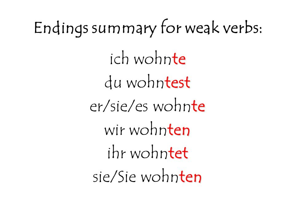 Endings summary for weak verbs: