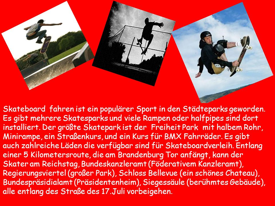 Skateboard fahren ist ein populärer Sport in den Städteparks geworden