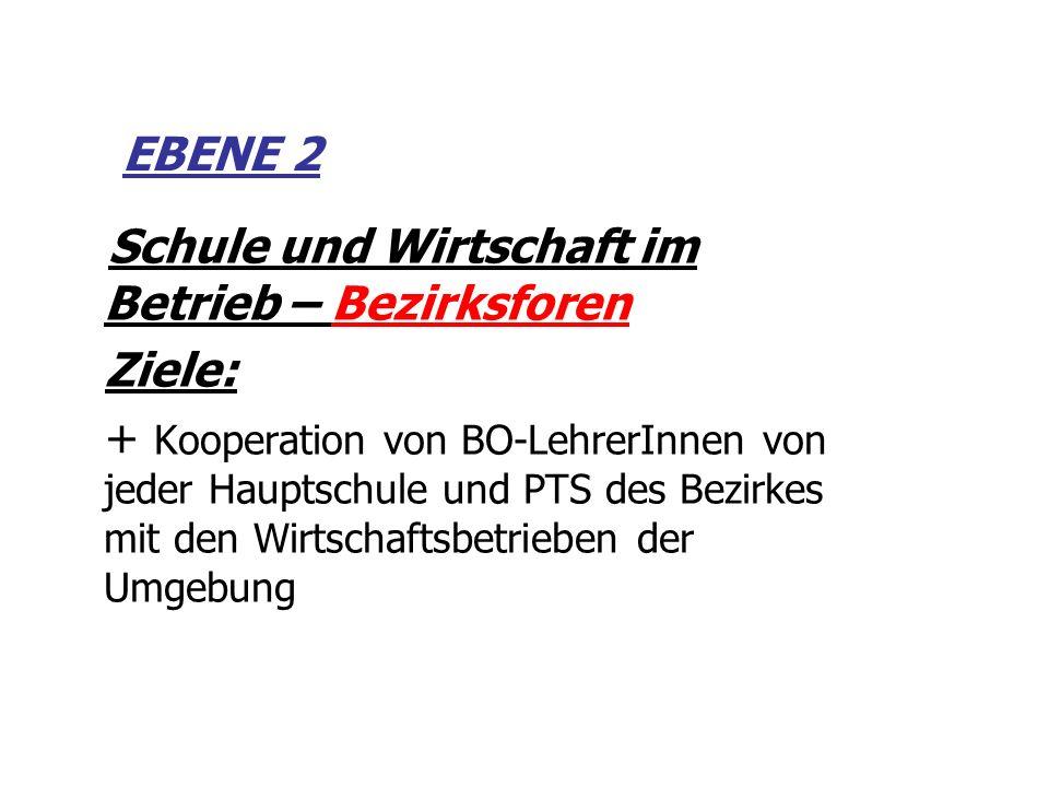 EBENE 2 Schule und Wirtschaft im Betrieb – Bezirksforen. Ziele: