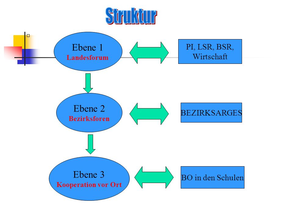Struktur Ebene 1 Ebene 2 Ebene 3 PI, LSR, BSR, Wirtschaft BEZIRKSARGES