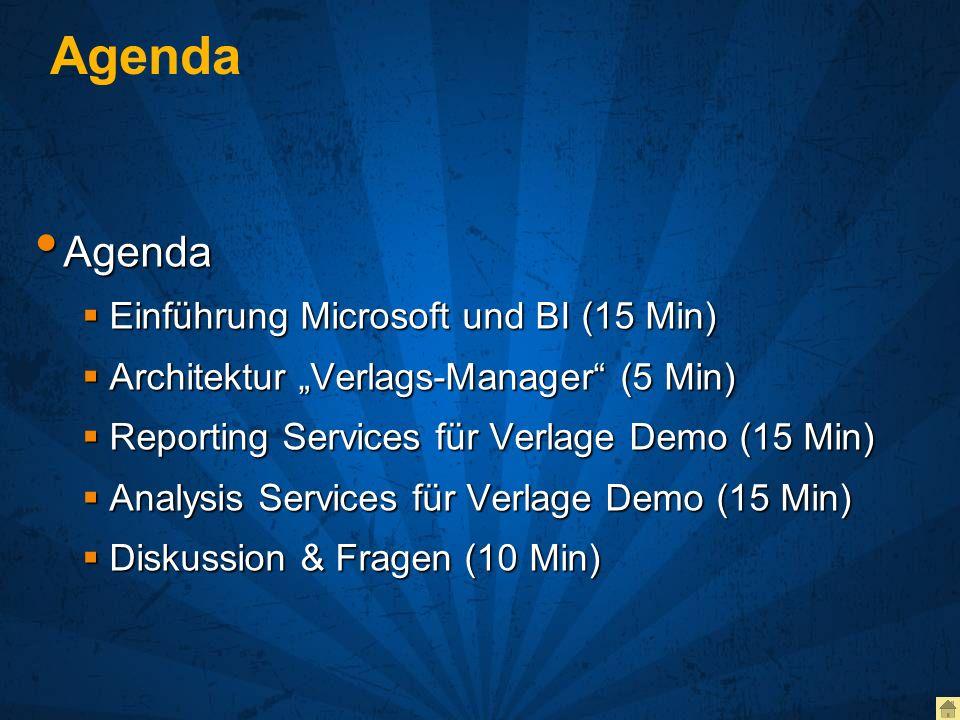 Agenda Agenda Einführung Microsoft und BI (15 Min)