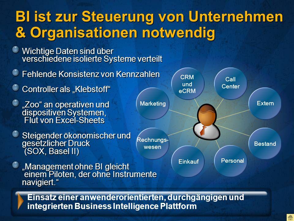 BI ist zur Steuerung von Unternehmen & Organisationen notwendig