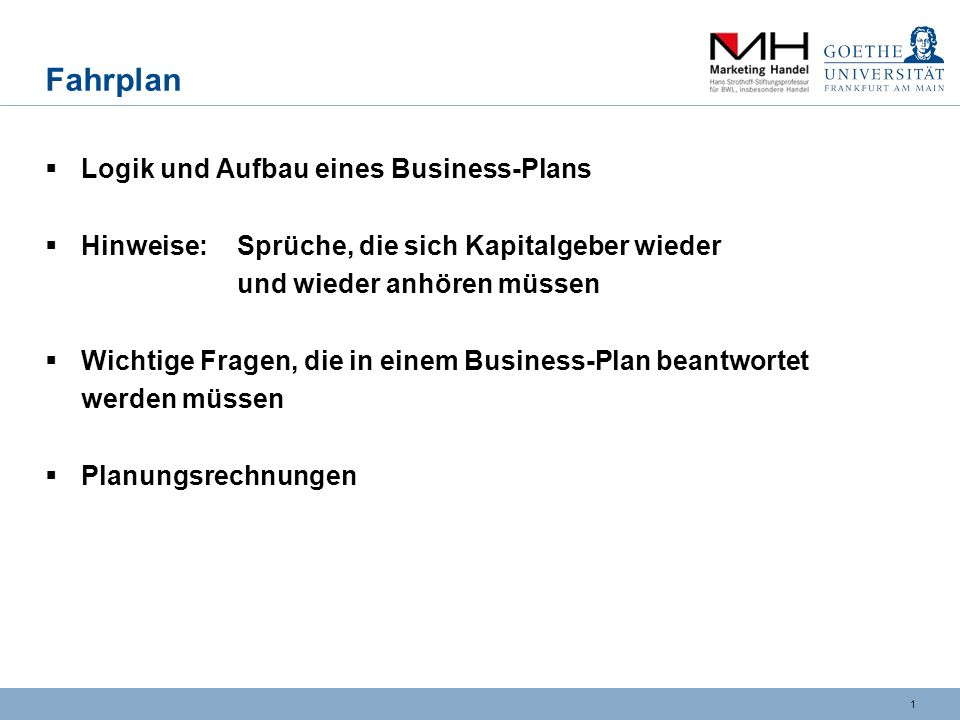 Business plan / changes to a business plan