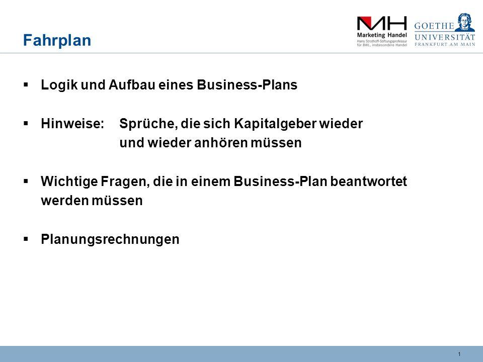 Fahrplan Logik und Aufbau eines Business-Plans