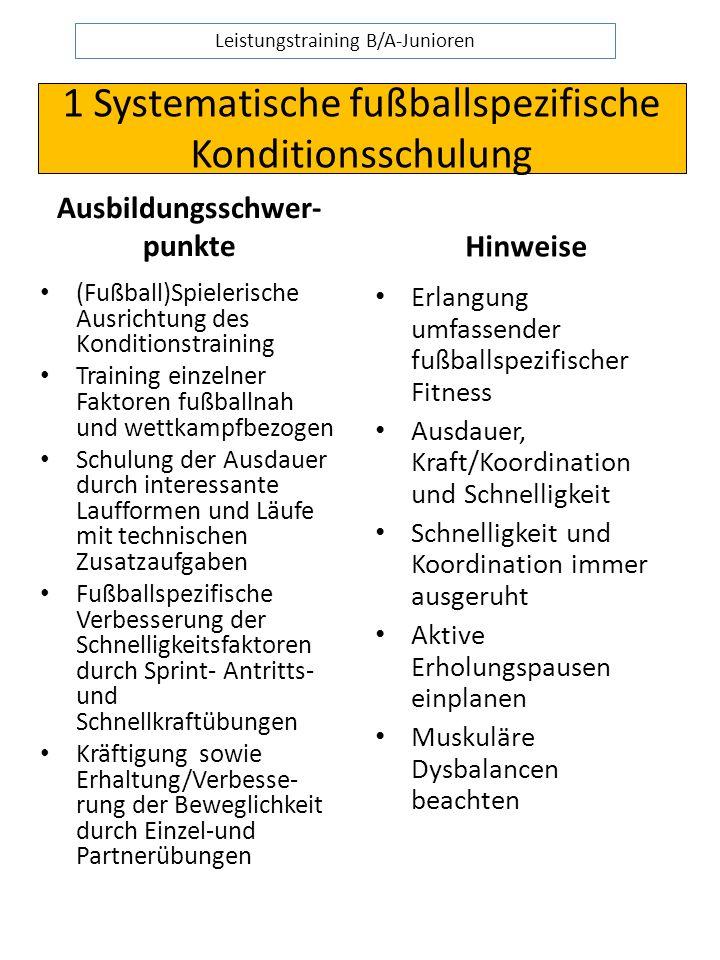 1 Systematische fußballspezifische Konditionsschulung