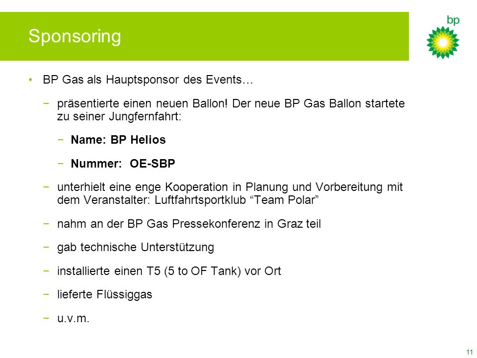 Sponsoring BP Gas als Hauptsponsor des Events…