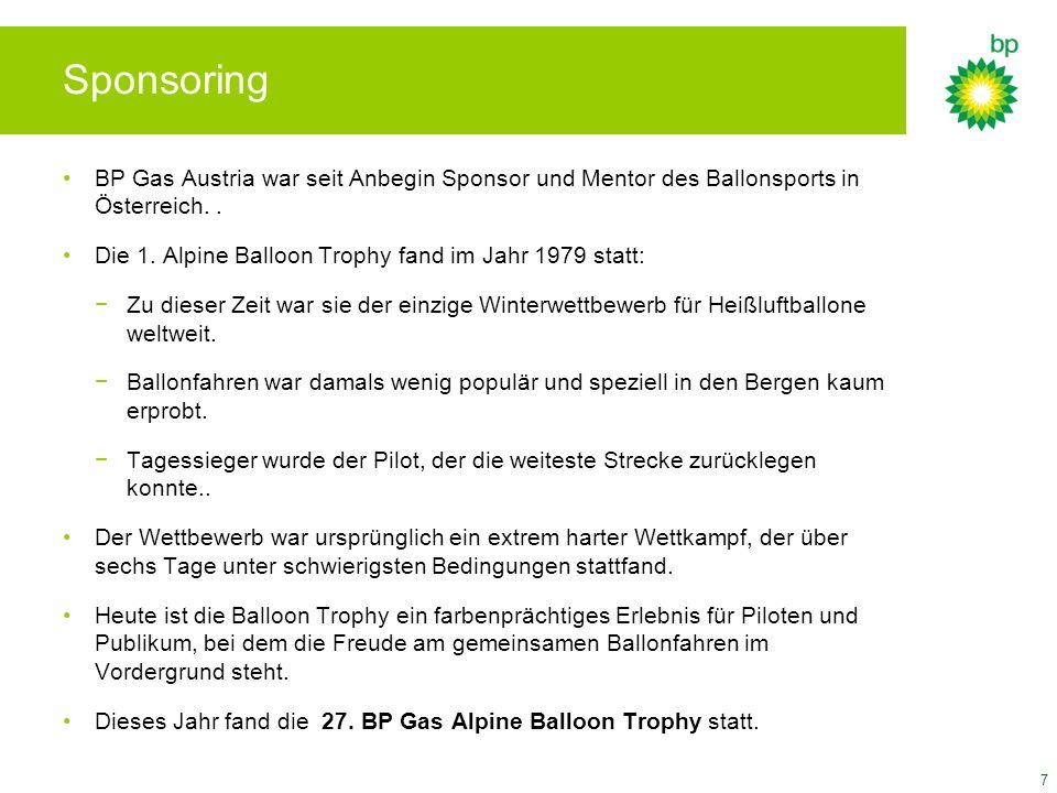 SponsoringBP Gas Austria war seit Anbegin Sponsor und Mentor des Ballonsports in Österreich. .