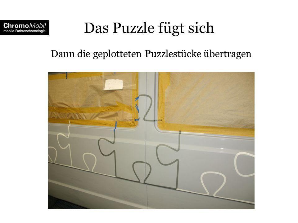 Das Puzzle fügt sich Dann die geplotteten Puzzlestücke übertragen