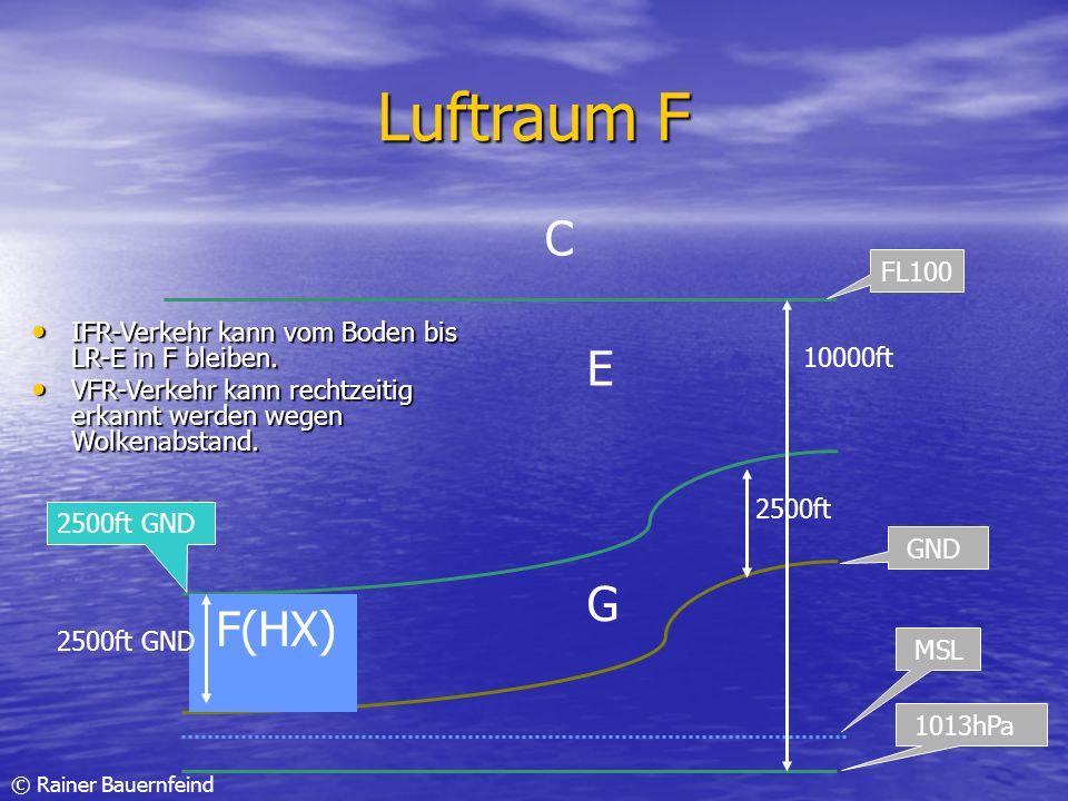 Luftraum FC. FL100. IFR-Verkehr kann vom Boden bis LR-E in F bleiben. VFR-Verkehr kann rechtzeitig erkannt werden wegen Wolkenabstand.