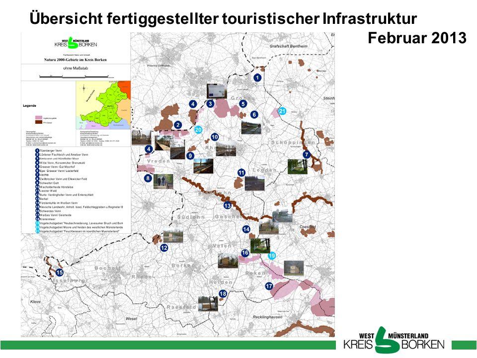 Übersicht fertiggestellter touristischer Infrastruktur
