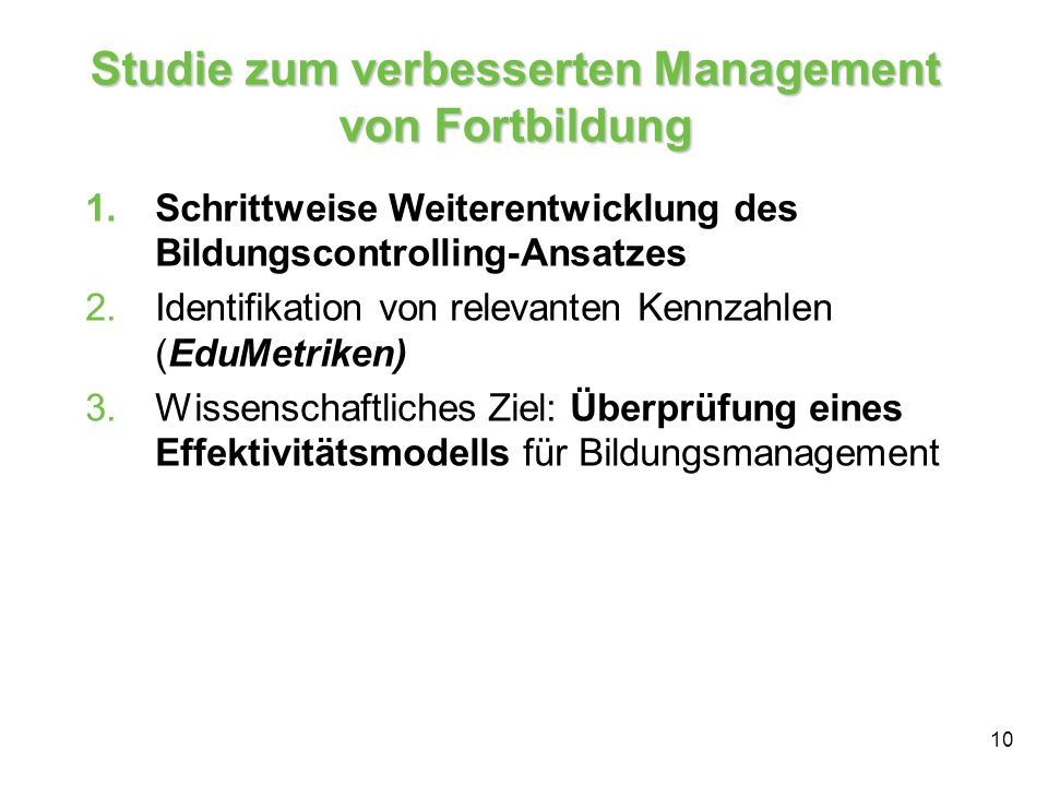 Studie zum verbesserten Management von Fortbildung
