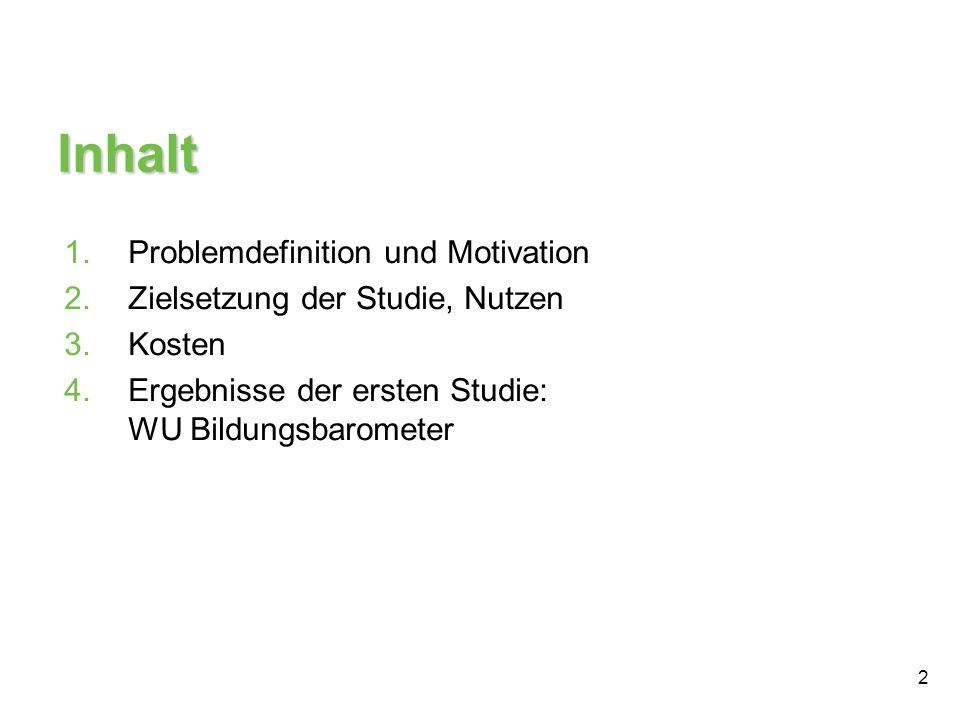 Inhalt Problemdefinition und Motivation Zielsetzung der Studie, Nutzen