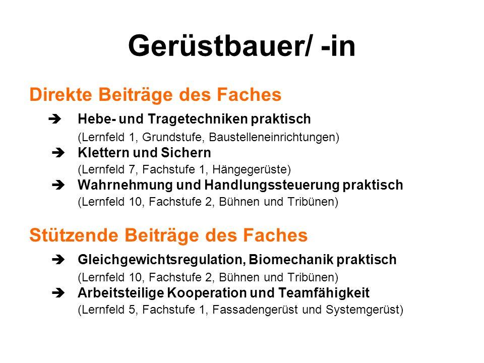 Gerüstbauer/ -in Direkte Beiträge des Faches