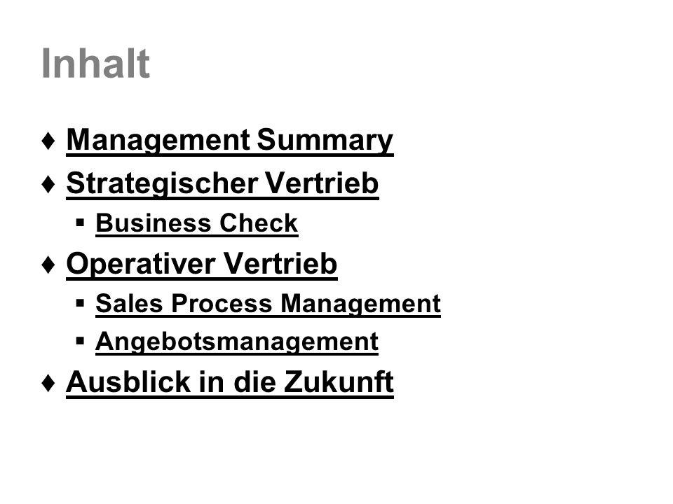 Inhalt Management Summary Strategischer Vertrieb Operativer Vertrieb