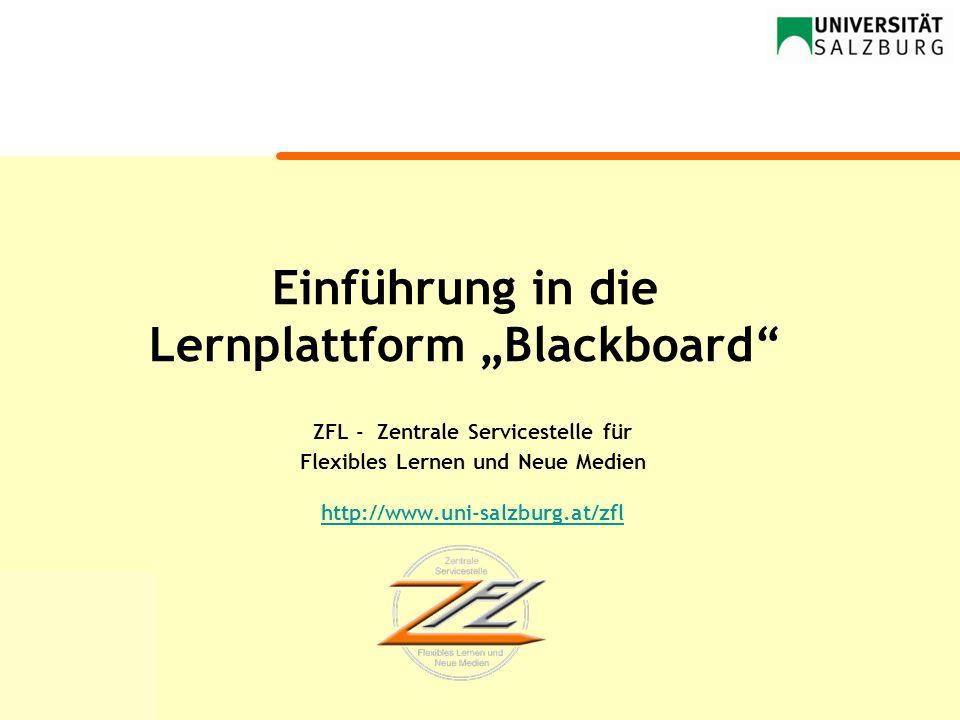 """Einführung in die Lernplattform """"Blackboard"""
