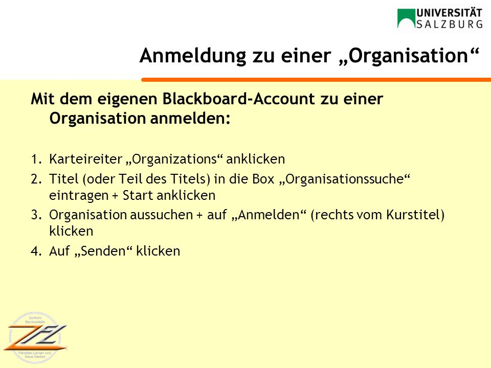 """Anmeldung zu einer """"Organisation"""