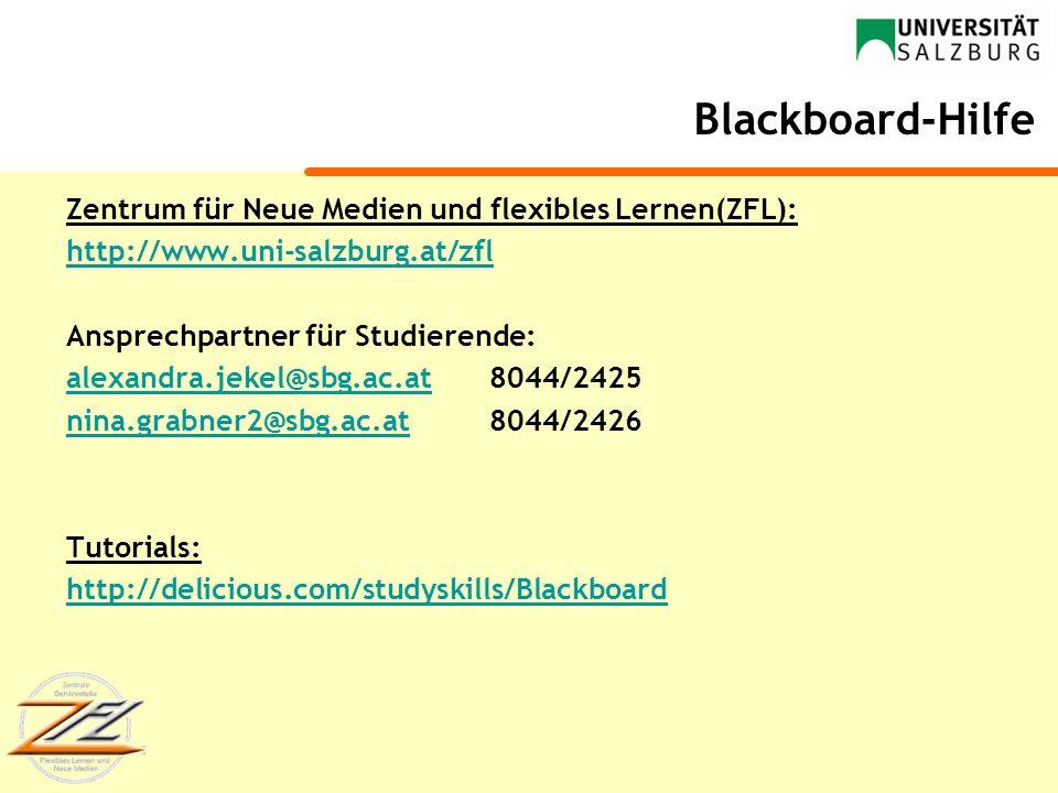 Blackboard-Hilfe Zentrum für Neue Medien und flexibles Lernen(ZFL):
