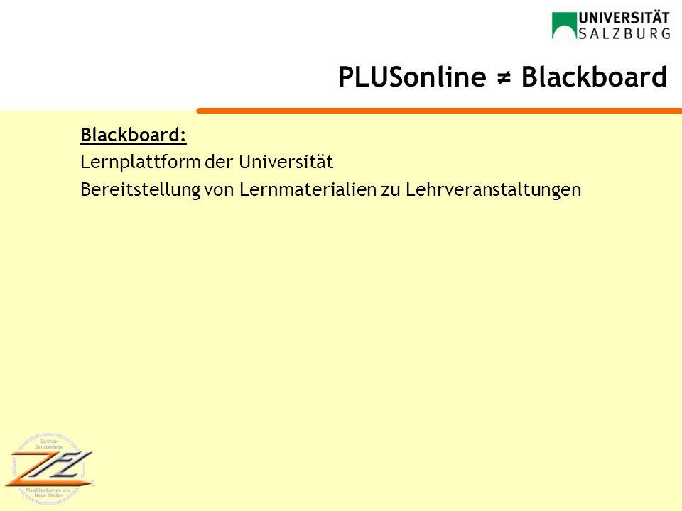 PLUSonline ≠ Blackboard