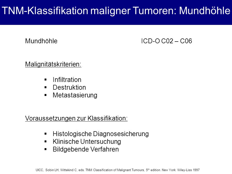 TNM-Klassifikation maligner Tumoren: Mundhöhle