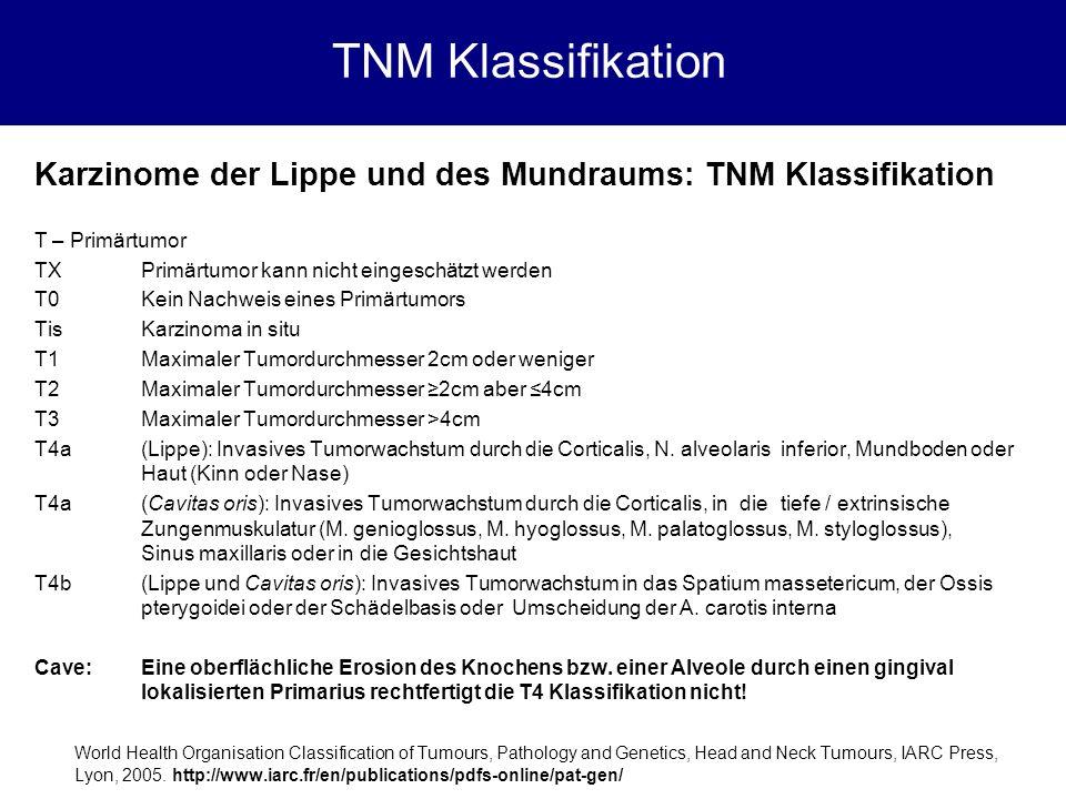 TNM Klassifikation Karzinome der Lippe und des Mundraums: TNM Klassifikation. T – Primärtumor. TX Primärtumor kann nicht eingeschätzt werden.