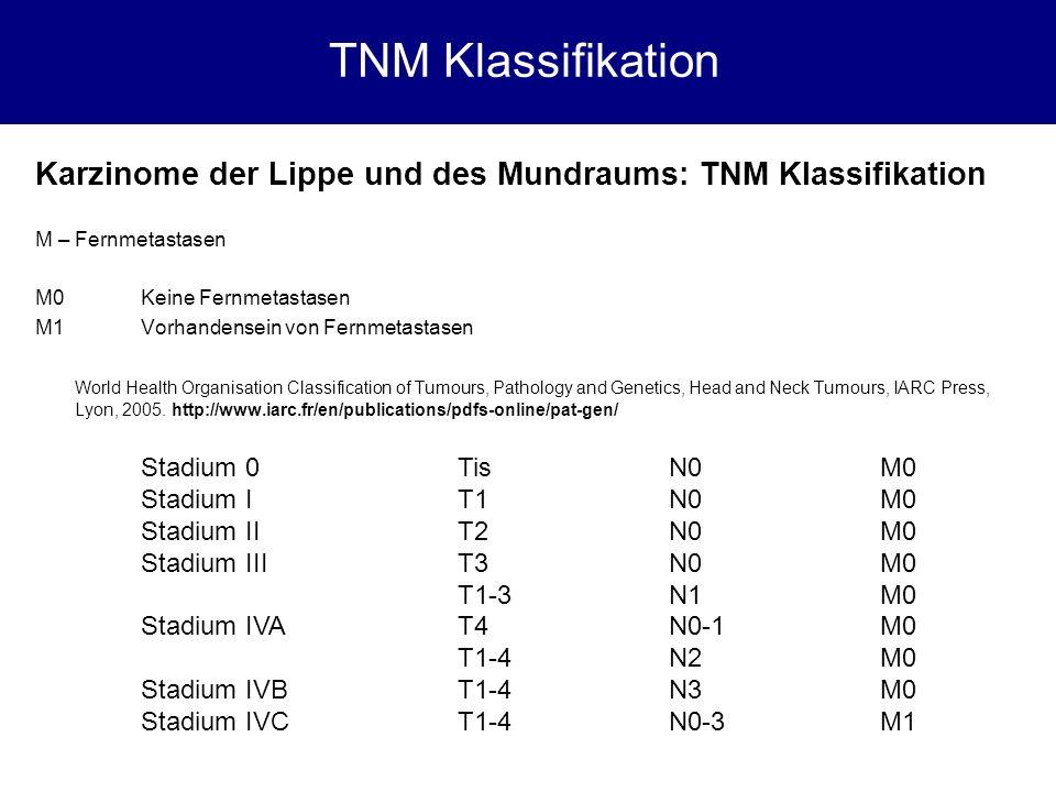 TNM Klassifikation Karzinome der Lippe und des Mundraums: TNM Klassifikation. M – Fernmetastasen. M0 Keine Fernmetastasen.