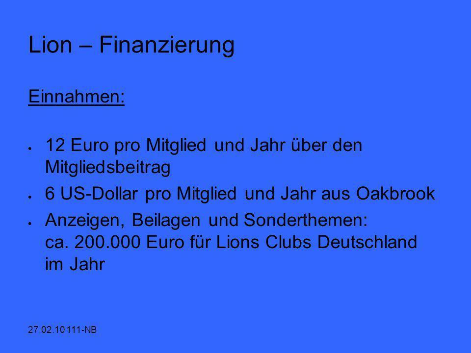 Lion – Finanzierung Einnahmen: