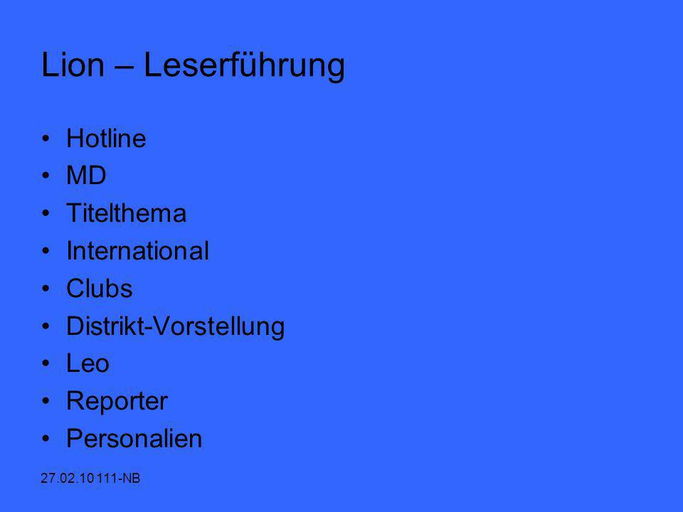Lion – Leserführung Hotline MD Titelthema International Clubs