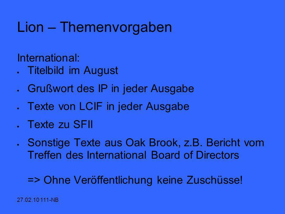 Lion – Themenvorgaben International: Titelbild im August