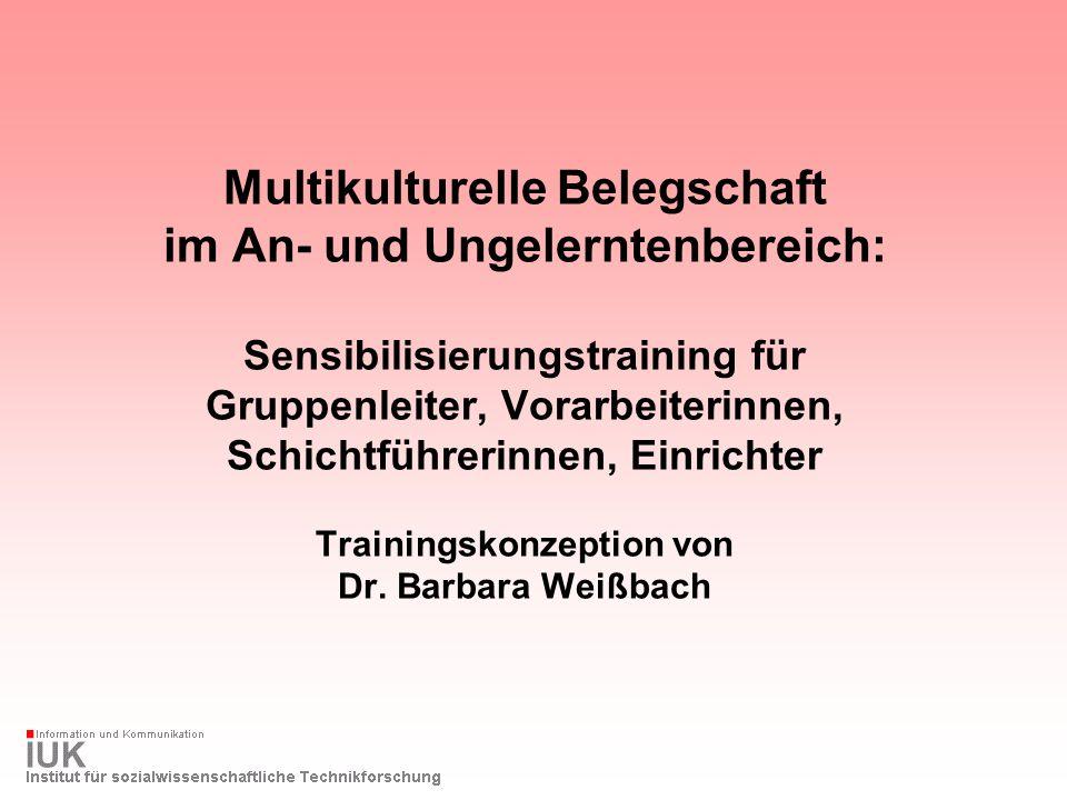 Multikulturelle Belegschaft im An- und Ungelerntenbereich: Sensibilisierungstraining für Gruppenleiter, Vorarbeiterinnen, Schichtführerinnen, Einrichter Trainingskonzeption von Dr.