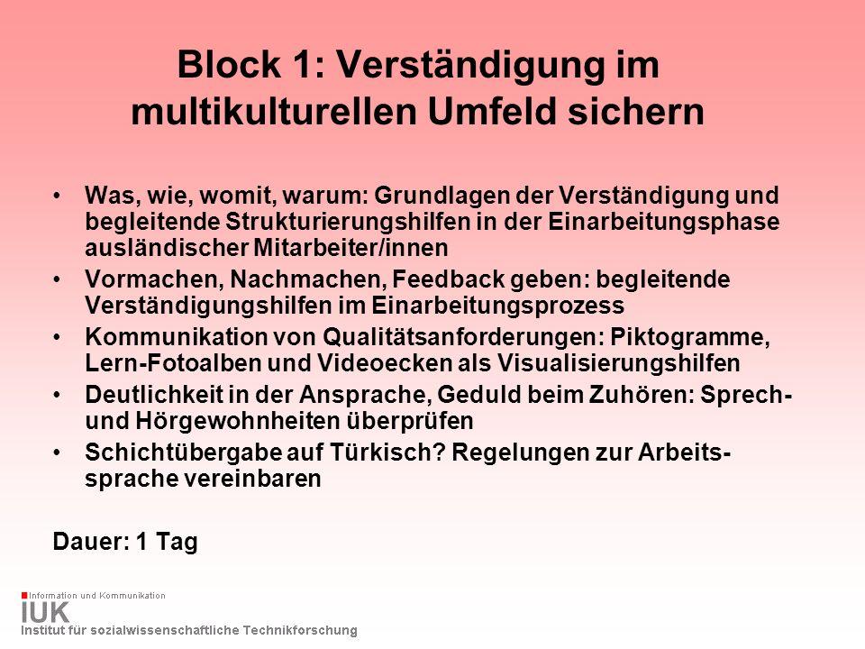 Block 1: Verständigung im multikulturellen Umfeld sichern