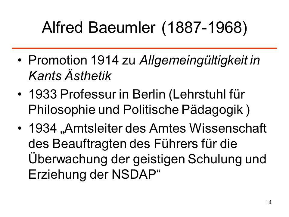 Alfred Baeumler (1887-1968) Promotion 1914 zu Allgemeingültigkeit in Kants Ästhetik.
